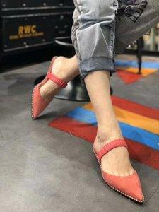 Hot Sale-femmes slipppers sandales 2019 top qualité femmes slipppers sandales Lazy Ladies Shoes cuir véritable couverture toe