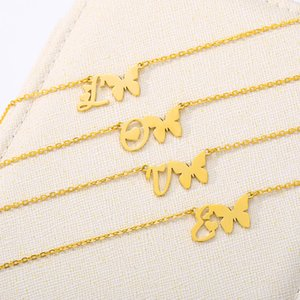 Cute Dainty A-Z Initial Letters Butterfly Heart Necklace For Women Stainless Steel Gold Alphabet Fashion Jewelry Collier Femme
