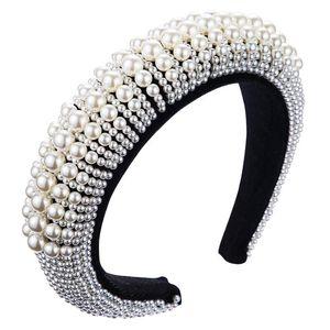 Accesorios de lujo Diseño Hairband perla de la manera cubierta acolchada venda del partido de danza de las mujeres Cabellos terciopelo de las mujeres del bisel Banda de pelo de la esponja