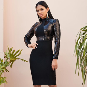 2020 Winter Long Sleeve Sequined Women Bandage Bodycon Dress Spring New Sexy Celebrity Evening Midi Dresses Night Party Vestidos