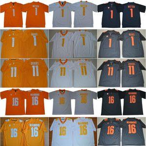 NCAA 16 Peyton Manning Tennessee Volunteers College #1 Jason Witten Jersey Jalen Hurd оранжевый серый белый 11 Joshua Dobbs футбольные майки bla