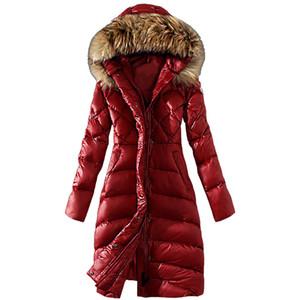 Womens Inverno casacos cor sólida longo quente pegajosa gola de pele artificial algodão fino revestimento para baixo espessada blusa Womens