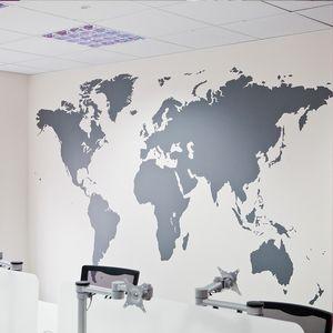 Grosso preto Grande mapa do mundo adesivos de parede removível dupla face Visual Pattern Decoração Casa Wallpaper frete grátis