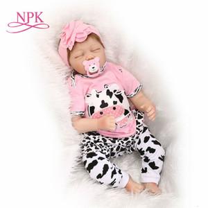 NPK Bebes muñecos de silicona princesa renacer renacer tamaño 22inch niño de la princesa de los bebés muñecas juguetes de regalo de los niños Y191213 verdadera vida