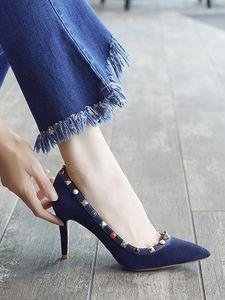 Venta caliente- Remache fino Sharp Single y Willows Nail Shallow Buckle Zapatos de mujer
