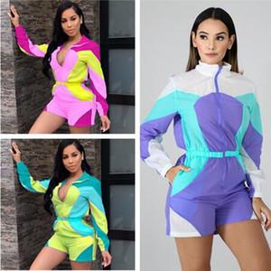 Femmes Summer Sun Manteau Jumpsuit Romper imperméable Salopette de protection solaire Contraste Patchwork couleur Zipper Veste Shorts Outfit A41108