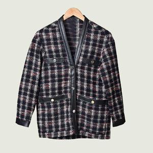 2020 осень зима с длинным рукавом V шеи плед Печать Tweed Кнопки панелями однобортный Кардиган Мода Верхняя одежда Пальто MD093248
