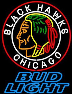 Neon İşaretler Bud Light Chicago Blackhawks Beer Bar Pub Mağaza Parti Odası Duvar Ekran 24X20