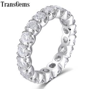 Transgems Solid 14k 585 White Gold 4mm F Colore Moissanite Eternity Wedding Ring Per le donne Regalo Gemstone Eternity Wedding Band Y19032201