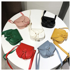 7 Color Girls INS tassels PU Bags 2018 New Children fashion Single shoulder aslant coin purse Bags wallet A-730