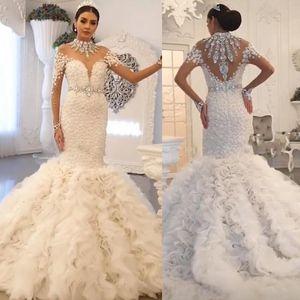 Luxury Mermaid Wedding Dresses High Neck Long Sleeve Sweep Train Cascading Ruffles Crystal Beads Illusion Chapel Bridal Gowns Custom made