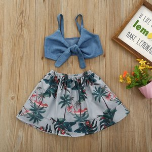 Baby Girls Skirt Sets Kids Clothes Toddler Girl Exposed Navel Sling Outfits Tops Tropical Style Skirt 2Pcs Clothing Sets