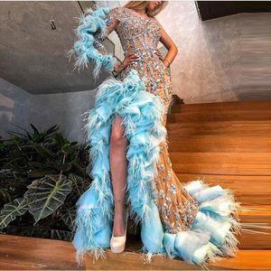 2020 Yeni Lüks Sparkle Boncuklu Mermaid Gelinlik Modelleri Seksi Ruffles Tüy Kristal Uzun Balo Abiye Champagne Resmi elbise Bir Omuz