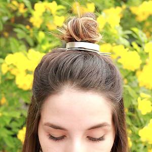 Оригинальный дизайн отполированный сплав Round Top волос Cuff Bun Клетка Минималистский Bun Держатель Кейдж волос Стик Свадебные аксессуары