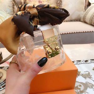 Tasarımcı Lüks Çantalar Cüzdanlar Marka Şeffaf Kutu Üst Kalite Moda PVC Jelly Temizle Çanta Kozmetik Çantası Çanta ile İpek Eşarp