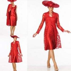 Rote Mutter der Brautkleider mit langen Ärmeln Spitze Jacke plus Größe Abendkleider Günstige Hochzeit Gast Formale Kleidung