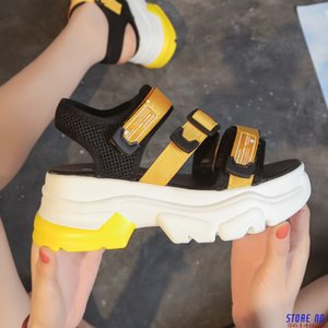 2020 Summer Chunky Sandals For Women Fashion Platform Sandal 6cm High Woman Wedges Shoes Designers Casual Shoes Yellow Green