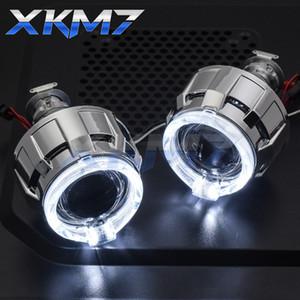 Far Lensler Angel Eyes LED H4 H7 HID Projektör Bi-Xenon Araç Aksesuarları Tuning Stil için 2.0 Mercek DRL Halo Running Işıklar
