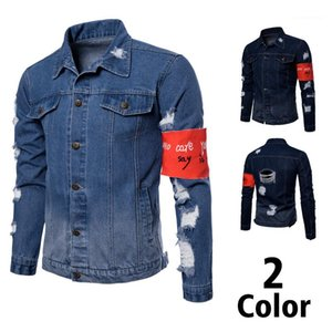 Collar de manga larga Homme prendas de vestir exteriores agujero bolsillo Hip Hop estilo Casual ropa para hombre diseñador de moda Jeans Jacktes soporte