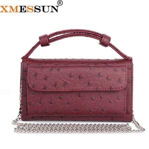 XMESSUN Moda İnek Deri Gün Debriyaj Tek Omuz Çapraz vücut Çanta Devekuşu Desen Gerçek Deri Debriyaj Zinciri bayan çantası