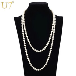 U7 European Style Simulated Pearl Jewelry Women Fashion High Quality Round White Black Bead Multi Layer Long Maxi Necklace N407