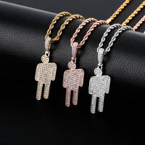 Роскошные Дизайнер ювелирных изделий Mens ожерелья Hiphop Iced Out Подвеска Bling Алмазная Billie Eilish Tilt Head Подвески Hip Hop Золото Серебро Аксессуары