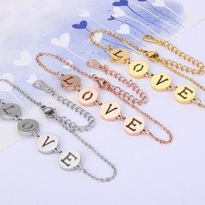 Women Stainless Steel Love Letter Bracelet Rose Gold Color Adjustable Bangle For Lovers Gift Pulsera Charm Bracelet Jewelry New
