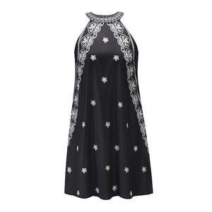 Sleeveless stand collar floral floral print dress