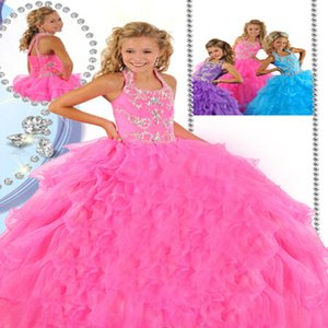 New style Luxury Factory direct sale Color diamond Ball Gown Organza BeadedHalter Lace-up Wedding flower girl Girls Pageant Dresses