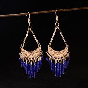 Vintage Ethnic Bohemian Beads Earrings 2020 Green Tassel Hanging Dangle Earring Gold Geometric Tibetan Jewelry Wholesale