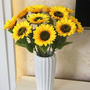 Artificial Flowers Sunflower seda amarela com casamento cabeça 16 centímetros decorativo flor Bouquet casa decoração decoração de jardim 68 centímetros Comprimento LQPYW944