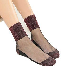 Arherigele 7 colori calze corte estive per le donne calze trasparenti ultrasottili le donne calze scintillanti cristalli brillanti Meias 10pz 5pair