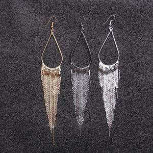 Hot Sale Long Tassel Earrings 2020 Trendy Water Drop Dangle Earrings for Women Gift Ethnic Boho Vintage Earrings Circle Jewelry