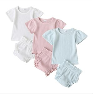 Kids Designer Clothes Girls Solid Summer Ruffle Clothing Set Girls Short Sleeve Top Ruffle Pants Suits Boys Cotton PP Pants Bloomers B7572