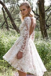 Glamorous A Line Backless Short Lace Wedding Dresses 2020 Sexy Sheer Long Sleeves V Back Garden Beach Boho Bridal Gowns Wedding Dress