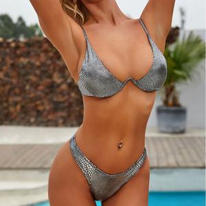 serpent d'argent bikinis 2020 mujer sexy maillot de bain femme brillante Poussez les femmes maillots de bain maillot de bain costumes deux pièces Beachwear