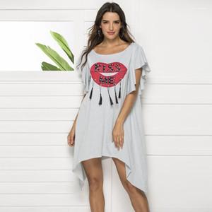 فستان موجز سيدة القماش الشفاه الأحمر مع رسالة طباعة المرأة اللباس والأزياء الشرابة Rhineston دونا سمر