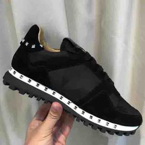 Ucuz Beyaz Studs Sneakers kamuflaj süet kadınlar için çivili kamuflaj kaya koşucu spor ayakkabı ayakkabı, erkek damızlık gündelik ucuz satış EU36-46