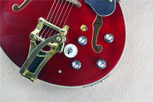 # @ # $ $ Le plus favorable bon style Hot 335 double trou creux f rocker guitare électrique avec cinq vin rouge profond QTP *!