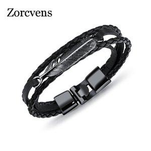 Modyle 2020 Fashion Vintage Angel Wings Feather Leaves Leather bracelets & bangles Men Charm Jewelry