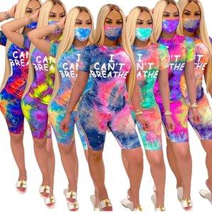 Frauen Anzug I CAN NOT BREATHE mit kurzen Ärmeln T-Shirt Shorts mit Gesicht Drei Maske Piece Anzug Outfits Tie-Dye Gradient Sport Anzug D62916
