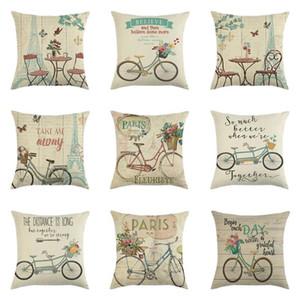 Flor Imixlot e bicicleta impresso linho Pillowcase 45 * 45 centímetros Praça Pillow Jogue Caso sofa País capa de almofada