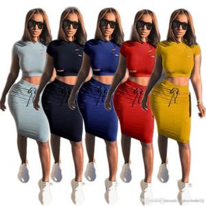 Kadın İki Adet Elbise Yaz Şeker Renk Kadınlar Kısa Kollu tişörtleri ve Slim Etekler Moda Hollow Kadın 2adet Setleri
