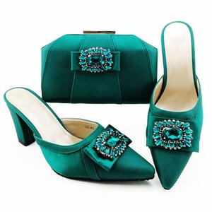 High Quality And With Handbag Shoes Bag Women Set 9CM Style African Pumps D.blue Dress Match For Party QSL012,heel Rhinestone Hhuna