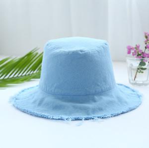 حار بيع الأزياء بالأسى دلو القبعات جودة عالية عادي مصبوغ تهالك قبعة الصيد طوي للنساء