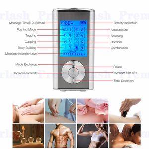 8 modalità TENS unità Mini digitale massaggiatore elettronico massaggiatore terapia muscolo pieno corpo agopuntura terapia magnetica decine massaggio argento blu