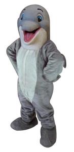 2018 Novo Feliz Golfinho Trajes Da Mascote 100% Real Imagem Adultos Natal Halloween Outfit Fancy Dress Suit Frete Grátis