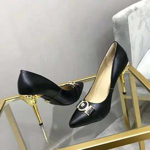2020 Женская обувь на высоком каблуке новый лакированная кожа металлическая пряжка мелкая кожа указал шпильки обувь топ роскошные женские насосы 35-41 ZSS8