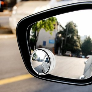 2pcs rotatorio de 360 grados empuje espejo retrovisor del coche pequeño espejo redondo de Gran Visión inversa Assist punto ciego espejo accesorios del coche