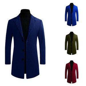 Зима шерстяного пальто Мужчина Длинная Slim Fit Теплая Повседневная Trench куртка Мужская Твердая однобортные бленды Куртка пальто 5XL